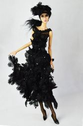 OOAK Black Viola Couture Dress